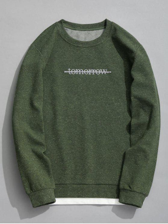 chic Tomorrow Textured Sweatshirt - ARMY GREEN XL