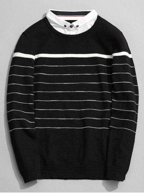 outfit Overlay Striped Knitwear - BLACK 2XL