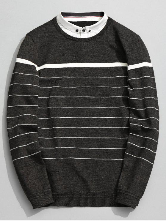 shop Overlay Striped Knitwear - GREEN GREY 2XL