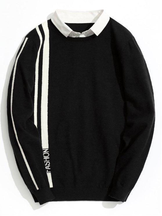 women's Double Layered Fashion Striped Knitwear - BLACK 3XL