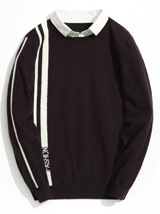 Malha de malha listrada de moda dupla - Vermelho Escuro 3XL