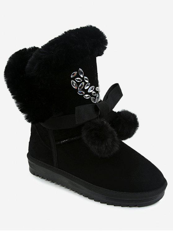 shops Pompom Bow Beading Snow Boots - BLACK 40