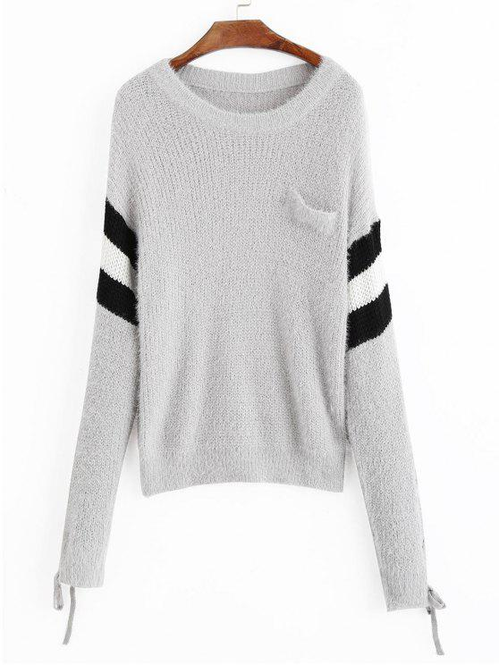 Suéter de rayas con mangas de encaje con hombros caídos - Gris Única Talla