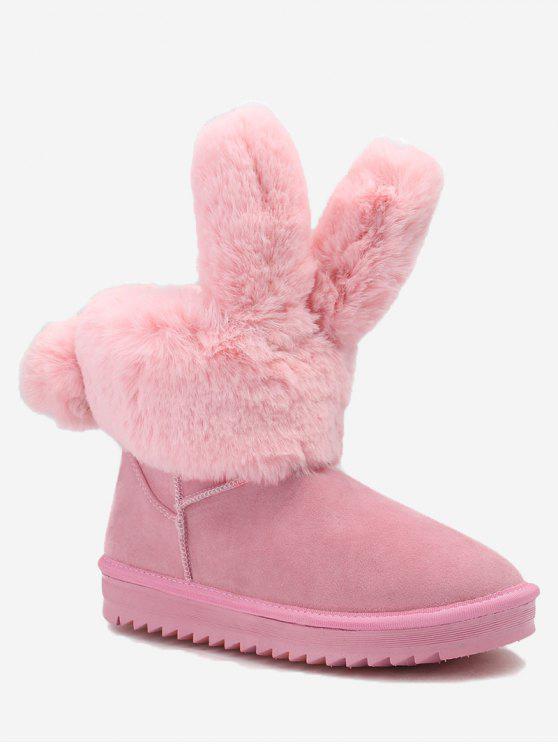 حذاء الثلوج مزين بآذان أرنب - زهري 40