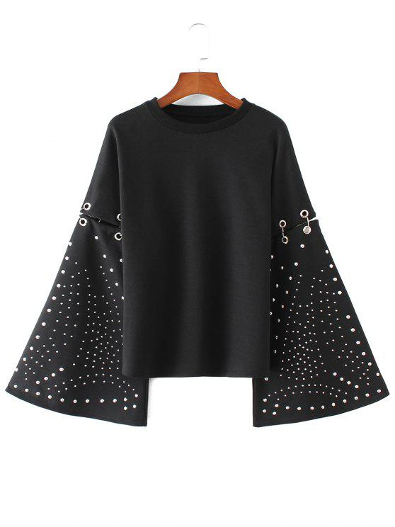 sale Flare Sleeve Metallic Rings Cutout Sweatshirt - BLACK S