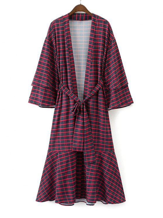 lady Belted Checked Flounces Duster Coat - CHECKED S