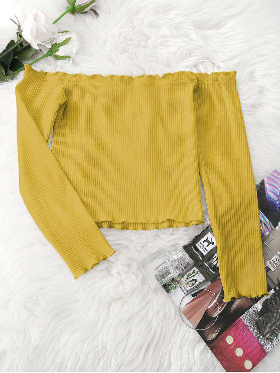 3c261f6e1f621 fashion Knitted Ruffled Ribbed Off Shoulder Top - MUSTARD ONE SIZE