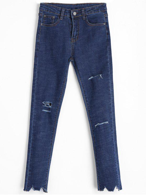 womens Frayed Hem Distressed Skinny Jeans - DENIM BLUE L