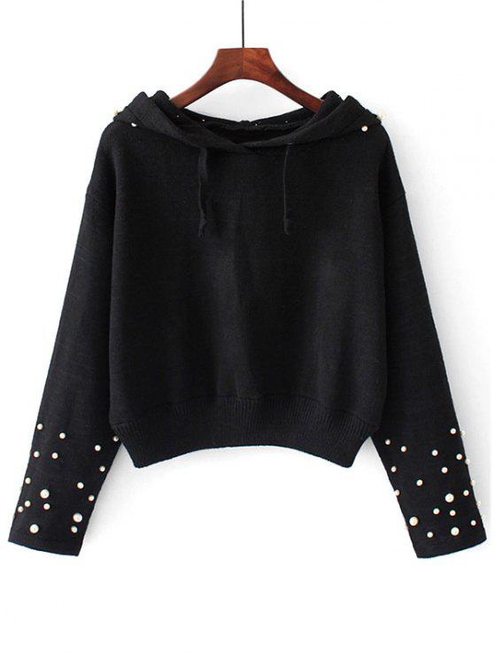 shop Hooded Faux Pearls Pullover Sweater , BLACK L