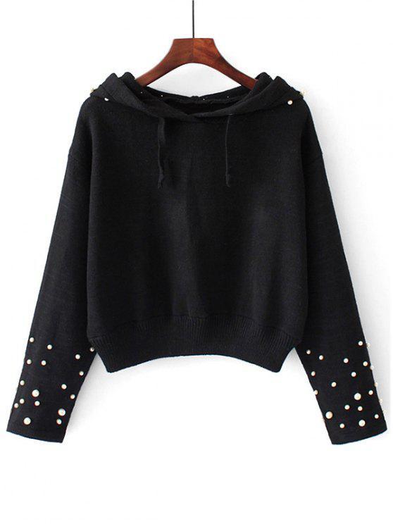 Suéter con capucha y perlas con capucha - Negro S