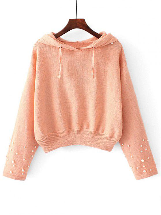 buy Hooded Faux Pearls Pullover Sweater - ORANGEPINK S