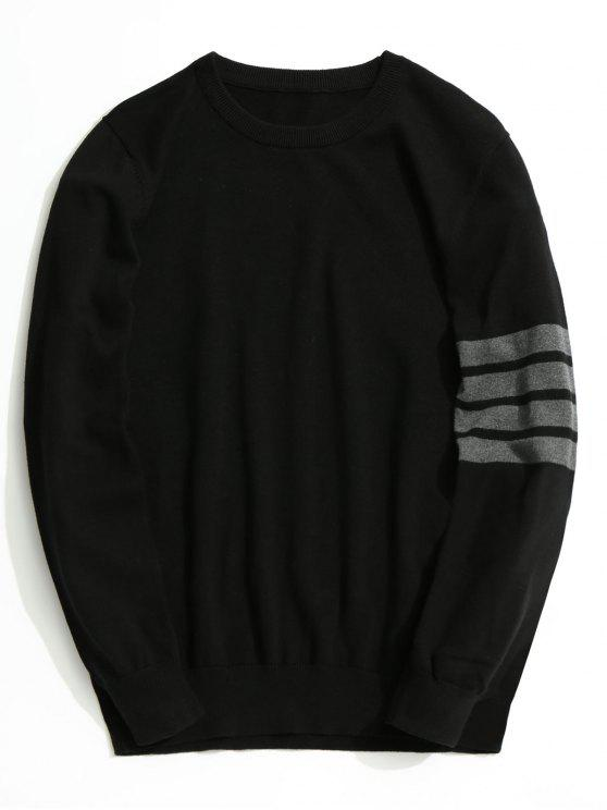 women's Crew Neck Striped Sleeve Knitwear - BLACK 2XL