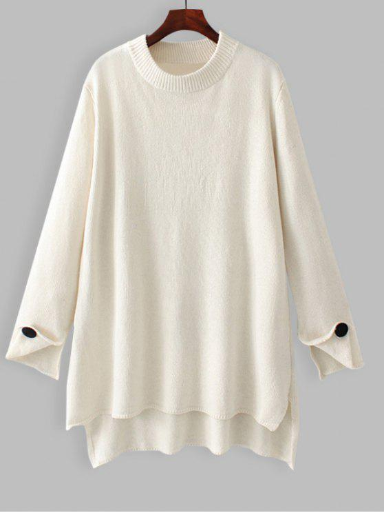 best Oversized High Low Pullover Sweater - WHITE S