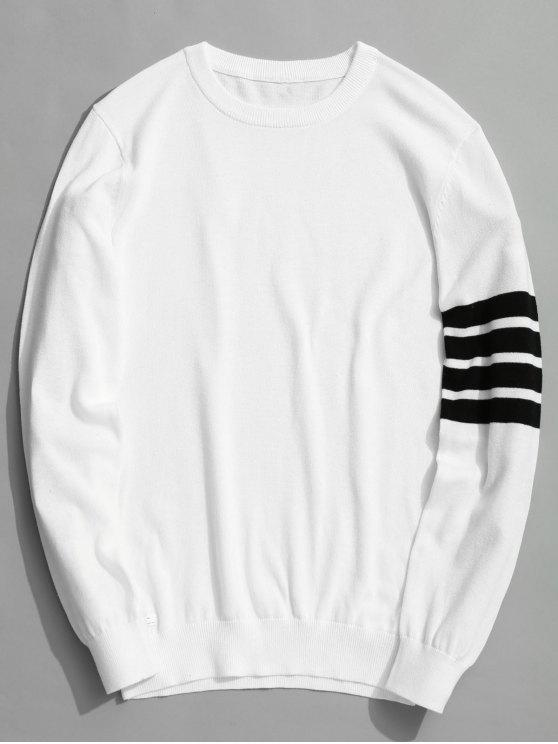 online Crew Neck Striped Sleeve Knitwear - WHITE 3XL