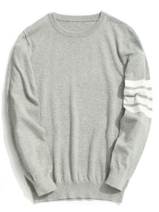Tricô de luva listrada com pescoço - Cinzento 3XL