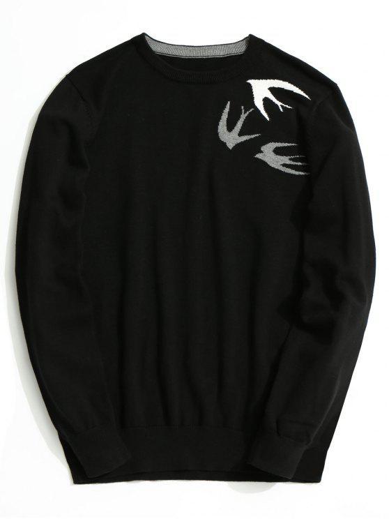 unique Swallow Jacquard Knitwear - BLACK 3XL