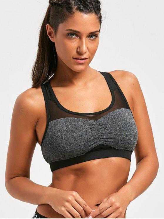 Racerback Mesh Panel Padded Sporty Bra - Cinzento XL