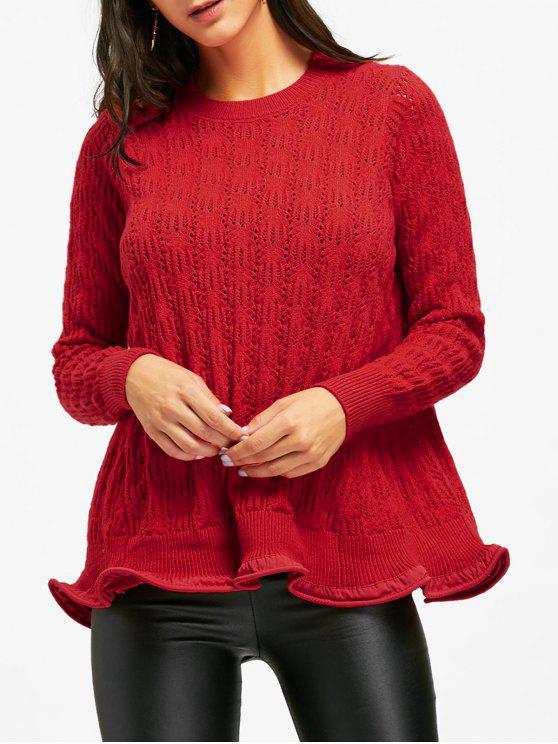 Suéter de volantes de punto abierto - Rojo Talla única