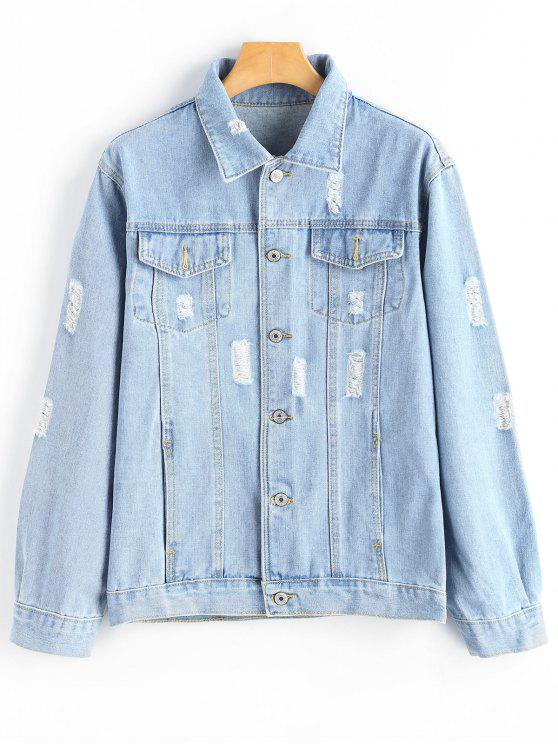 lady Button Up Ripped Pocket Denim Jacket - LIGHT BLUE L