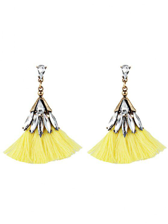 Crystal Embellished Fan Shaped Fringed Drop Earrings - Amarelo