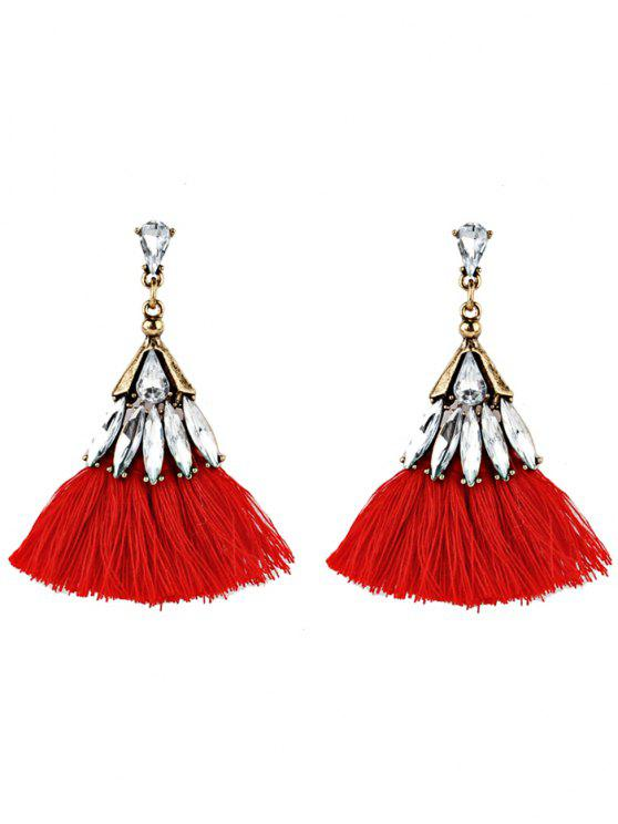 Crystal Embellished Fan Shaped Fringed Drop Earrings - Vermelho