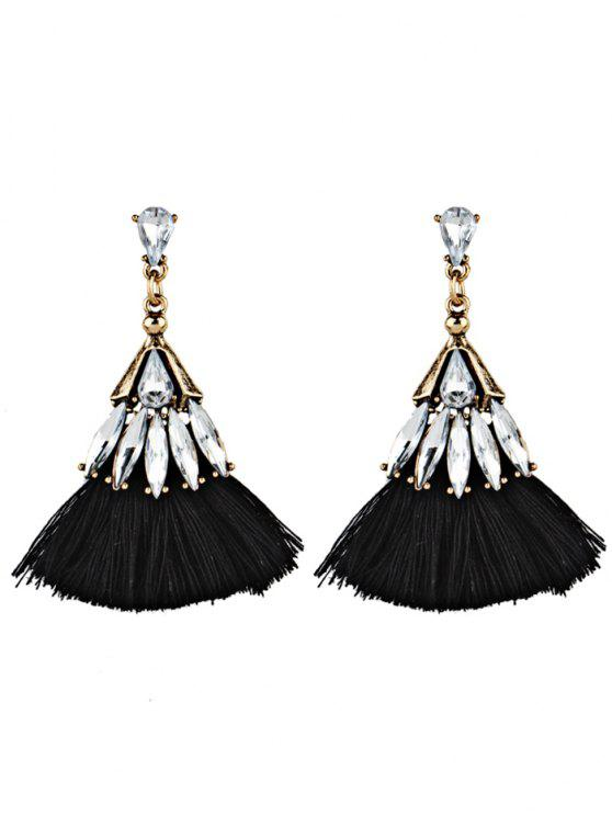 ladies Crystal Embellished Fan Shape Fringed Drop Earrings - BLACK
