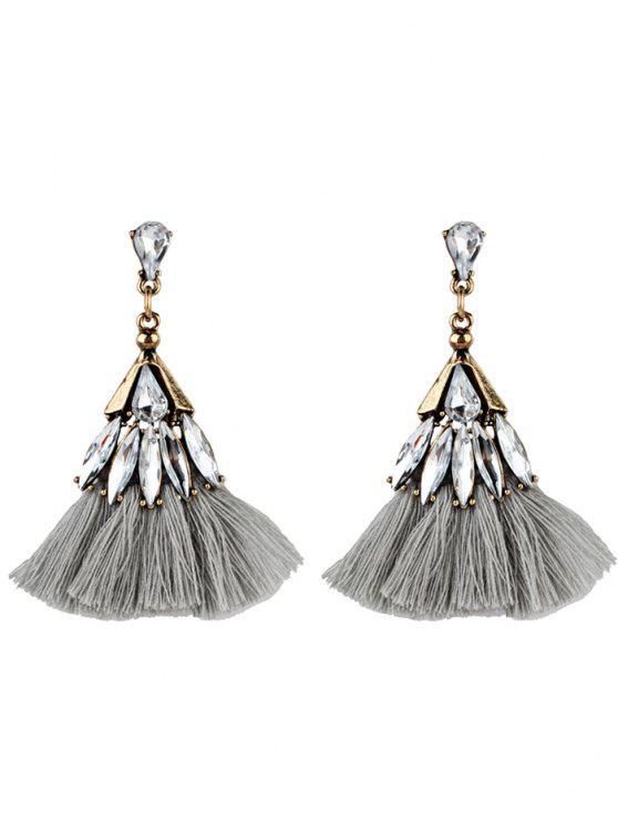 Crystal Embellished Fan Shape Franjas Brincos - Cinzento