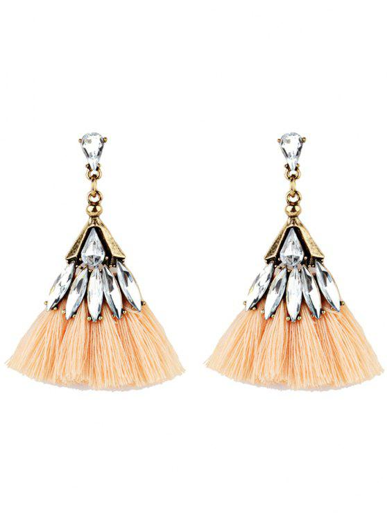 shop Crystal Embellished Fan Shape Fringed Drop Earrings - ORANGE STRIPES