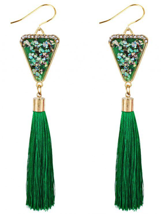 new Triangle Shape Crystal Embellished Fringed Drop Earrings - GREEN