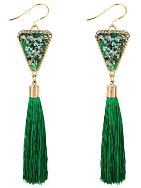 Triângulo De Forma De Cristal Embellished Fringed Drop Earrings - Verde
