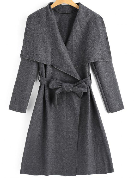 chic Belted Skirted Wool Blend Coat - DEEP GRAY XL