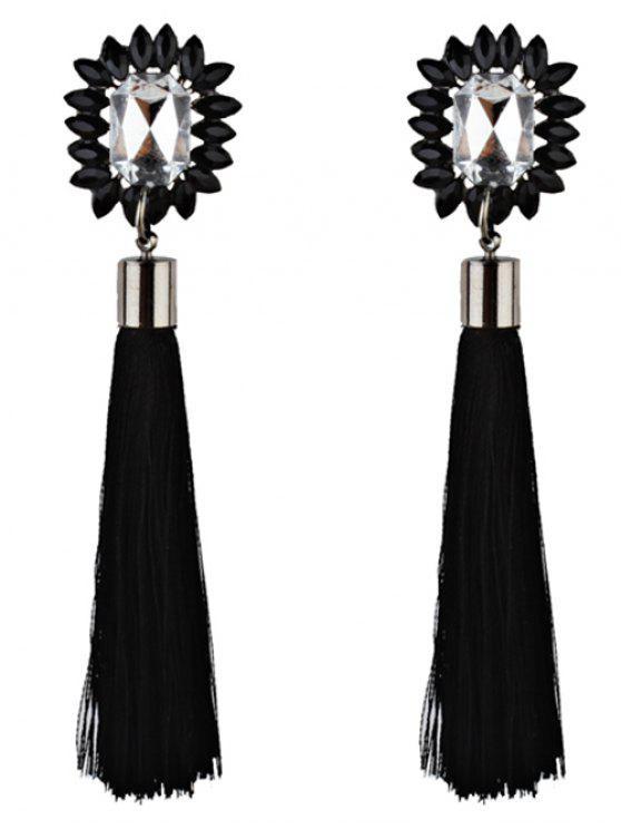 Rhinestone Embellished Long Fringed Earrings - Preto