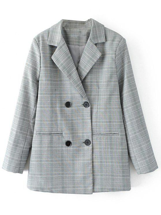 chic Button Up Checked Blazer - CHECKED L