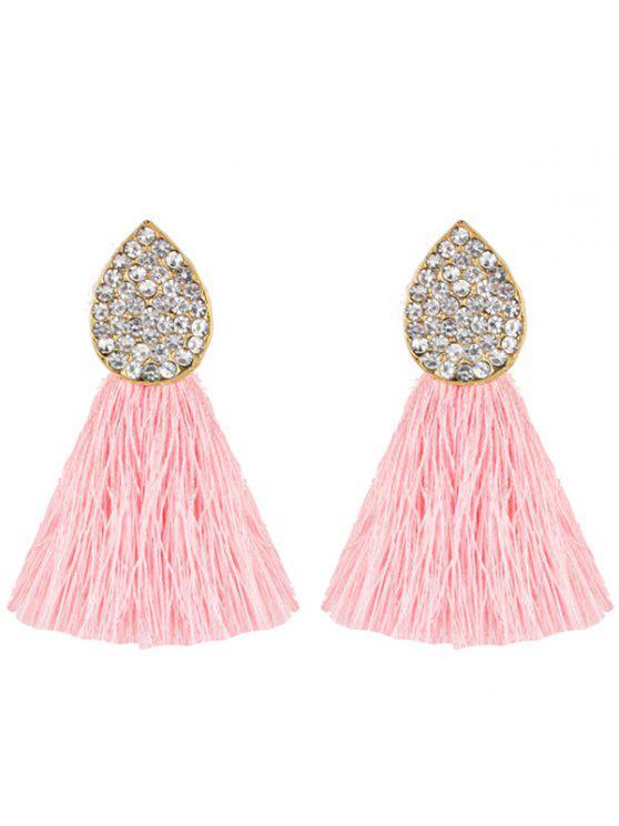 ladies Water Drop Shape Rhinestone Embellished Tassel Earrings - PINK