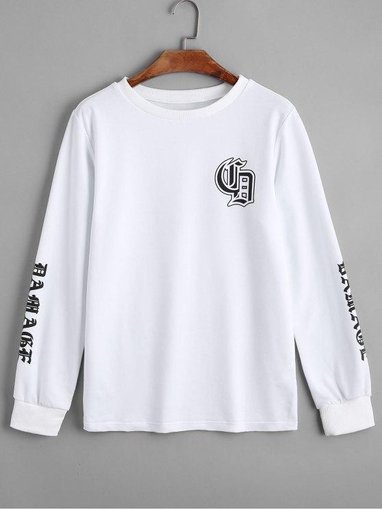 Camisola da palmeira da letra frouxa - Branco S