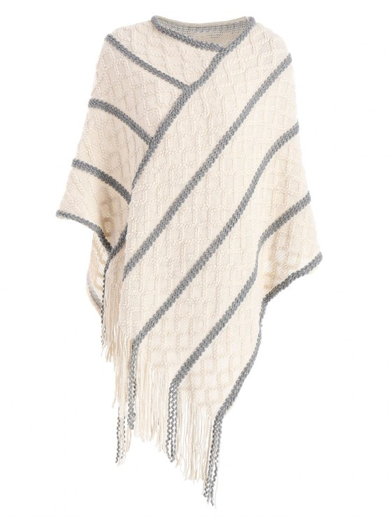 2018 Fringe Cable Knit Poncho Sweater In Off White One Size Zaful