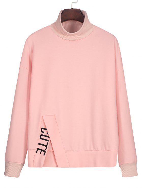 ladies Mock Neck Slit Letter Embroidered Sweatshirt - PINK M