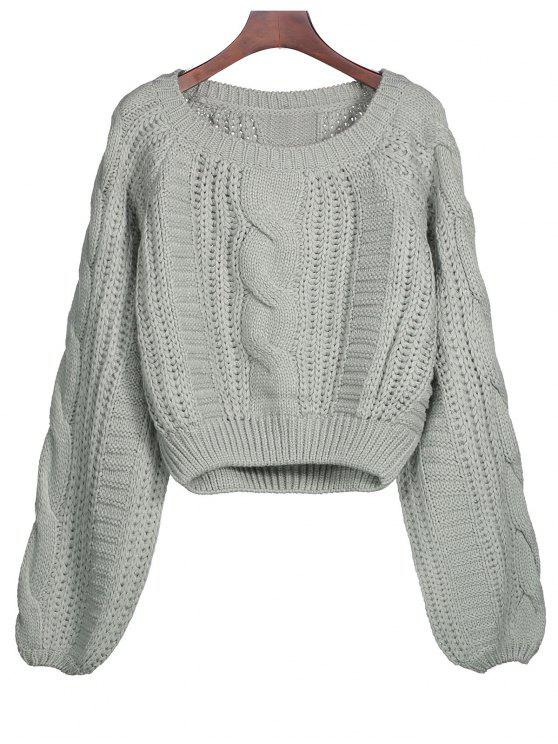 affordable Lantern Sleeve Cable Knit Sweater - GRAY ONE SIZE