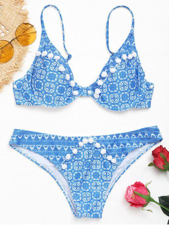Conjunto de bikini estampado Pom Pom con aros - AZUL + BLANCO L