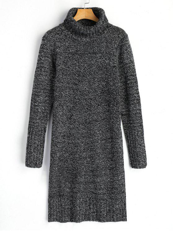 shops Long Sleeve Turtleneck Heathered Sweater Dress - DEEP GRAY ONE SIZE