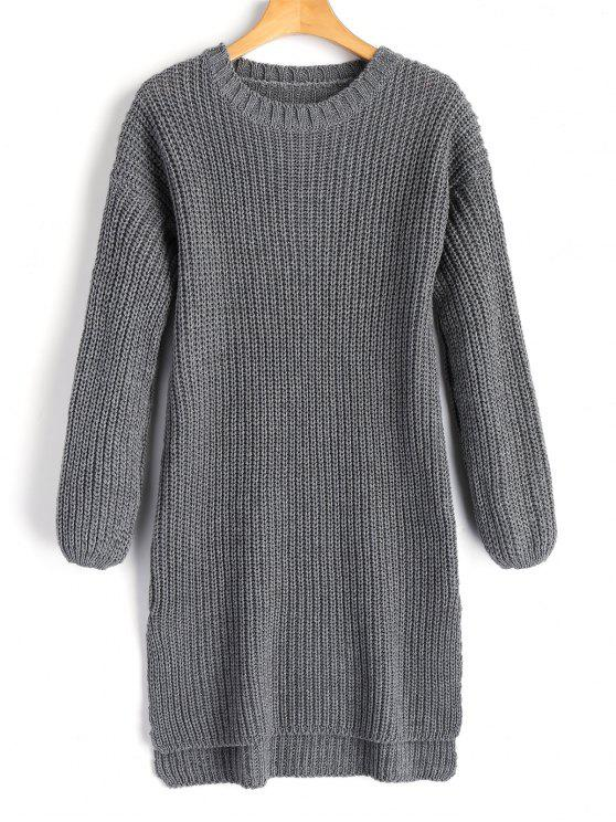 sale Longline High Low Slit Sweater - GRAY ONE SIZE
