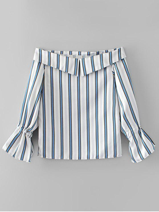 lady Bow Tied Sleeve Off Shoulder Stripes Blouse - STRIPE M