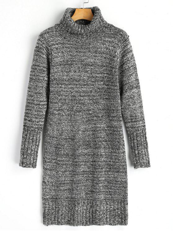 best Long Sleeve Turtleneck Heathered Sweater Dress - LIGHT GRAY ONE SIZE