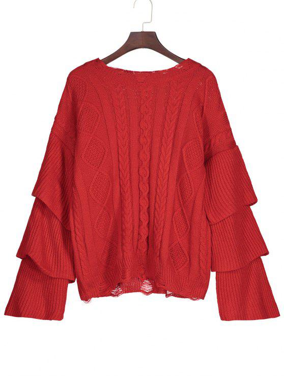 Layered Sleeve Cable Knit Ripped Sweater RED: Sweaters ONE SIZE ...