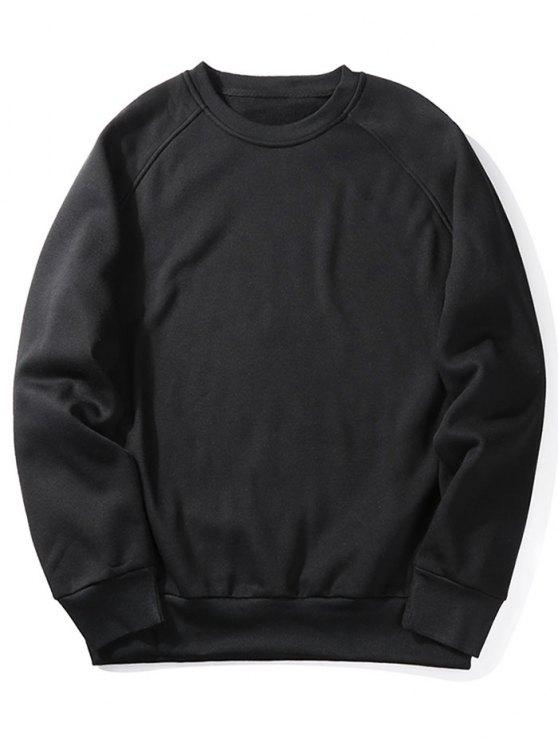 ladies Fleece Crew Neck Sweatshirt - BLACK 2XL