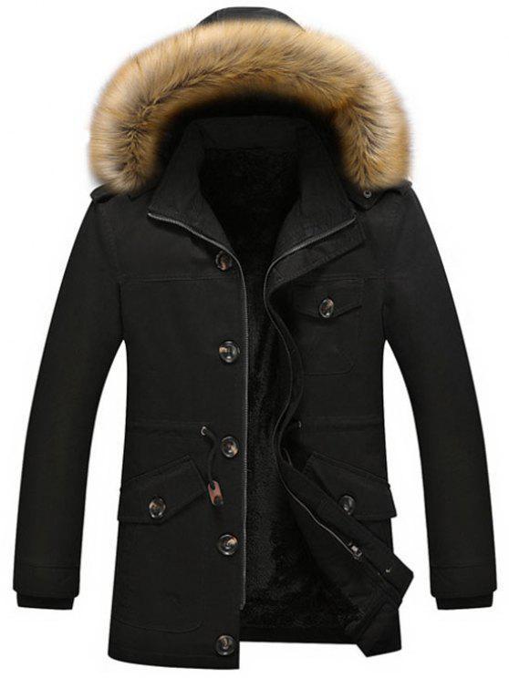 outfits Fleece Drawstring Parka Coat - BLACK 2XL