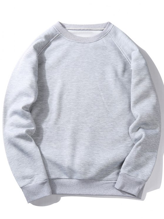 hot Fleece Crew Neck Sweatshirt - LIGHT GRAY S