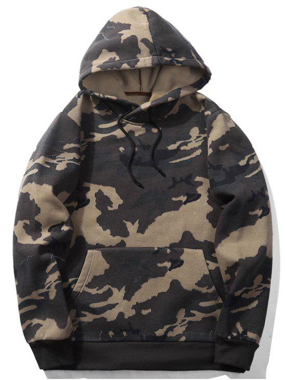 2019 Fleece Mens Camo Hoodie In KHAKI XL  a7ef974984b