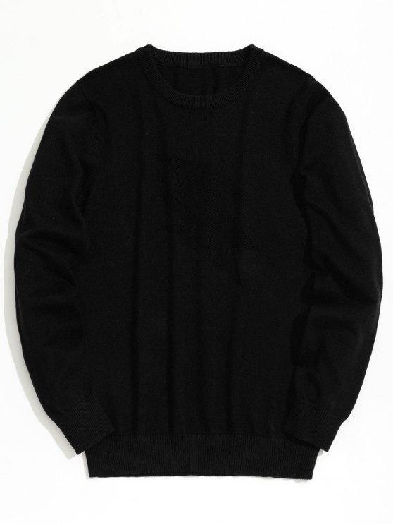 women's Plain Crew Neck Knitwear - BLACK XL