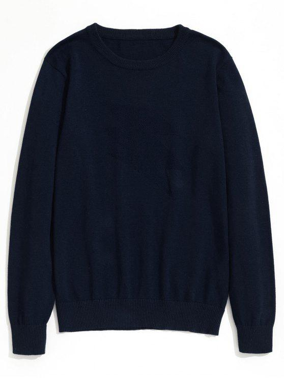 shop Plain Crew Neck Knitwear - PURPLISH BLUE XL